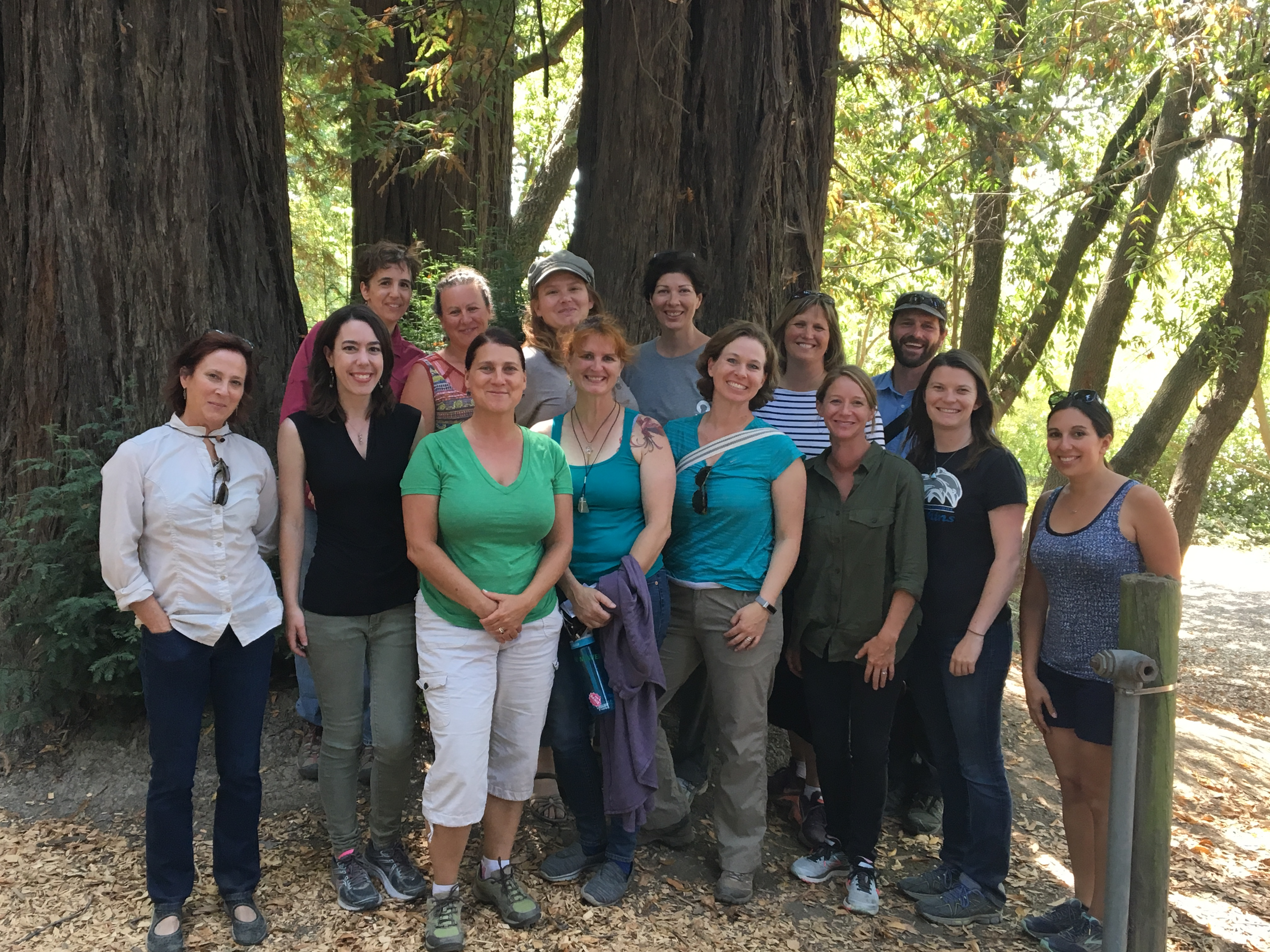 SCOE's new 21st Century Science Teacher Leader Cadre poses for a picture in the redwoods.