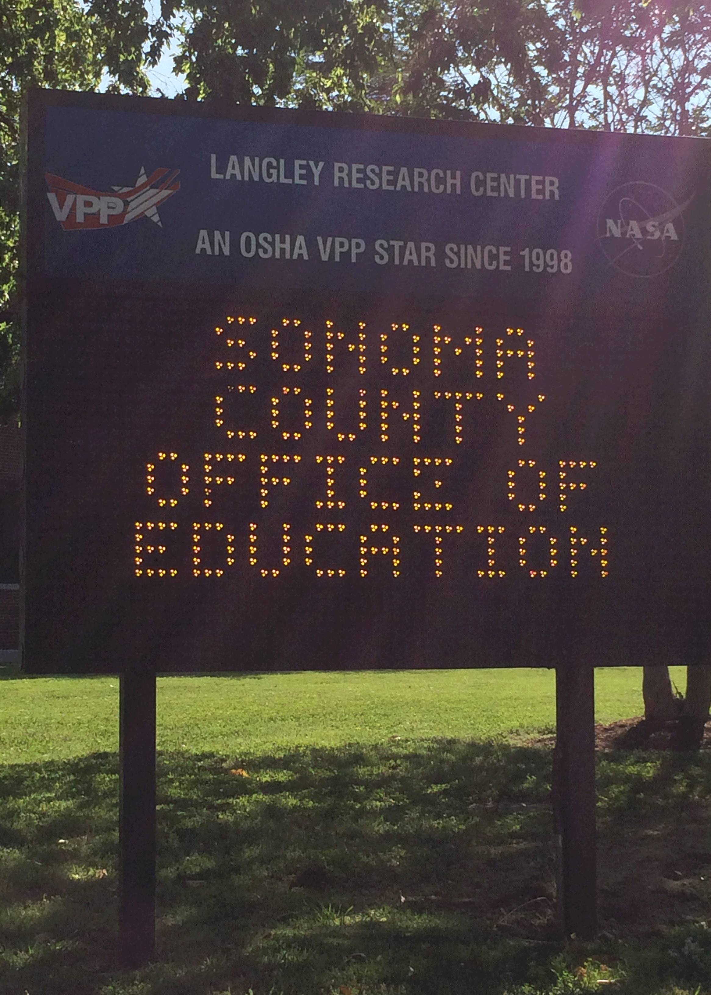 NASA sign welcomes SCOE