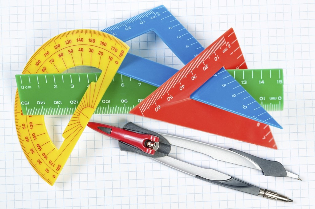 Rulers, protractor and compass