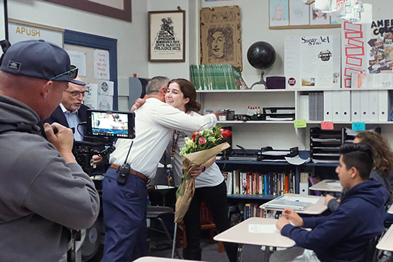 Rachel Ambrose receives the Teacher of the Year Award in her classroom