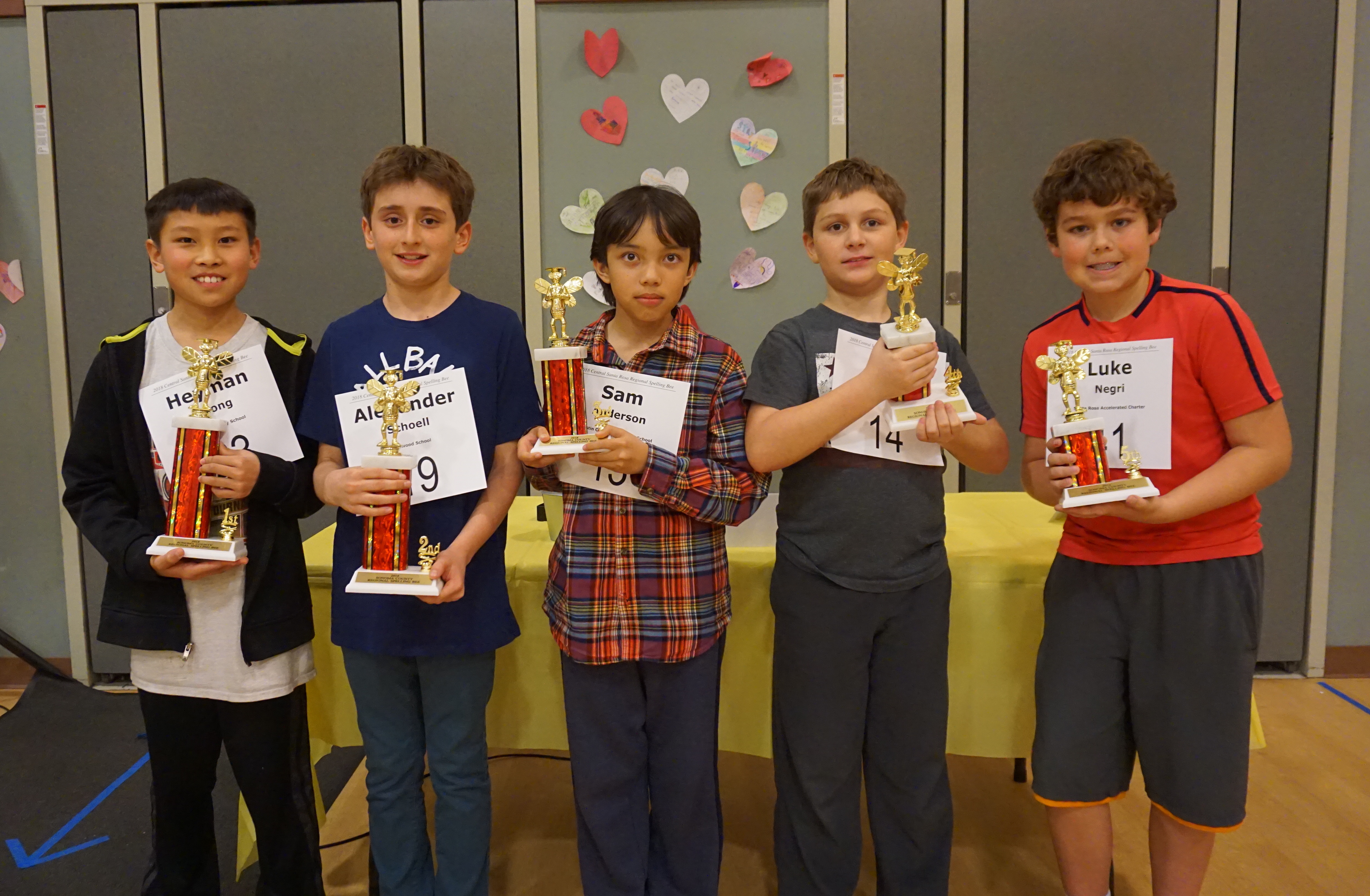 Central County Spelling Bee Winners 2018