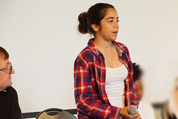 Student speaks at Restorative Culture Collaborative