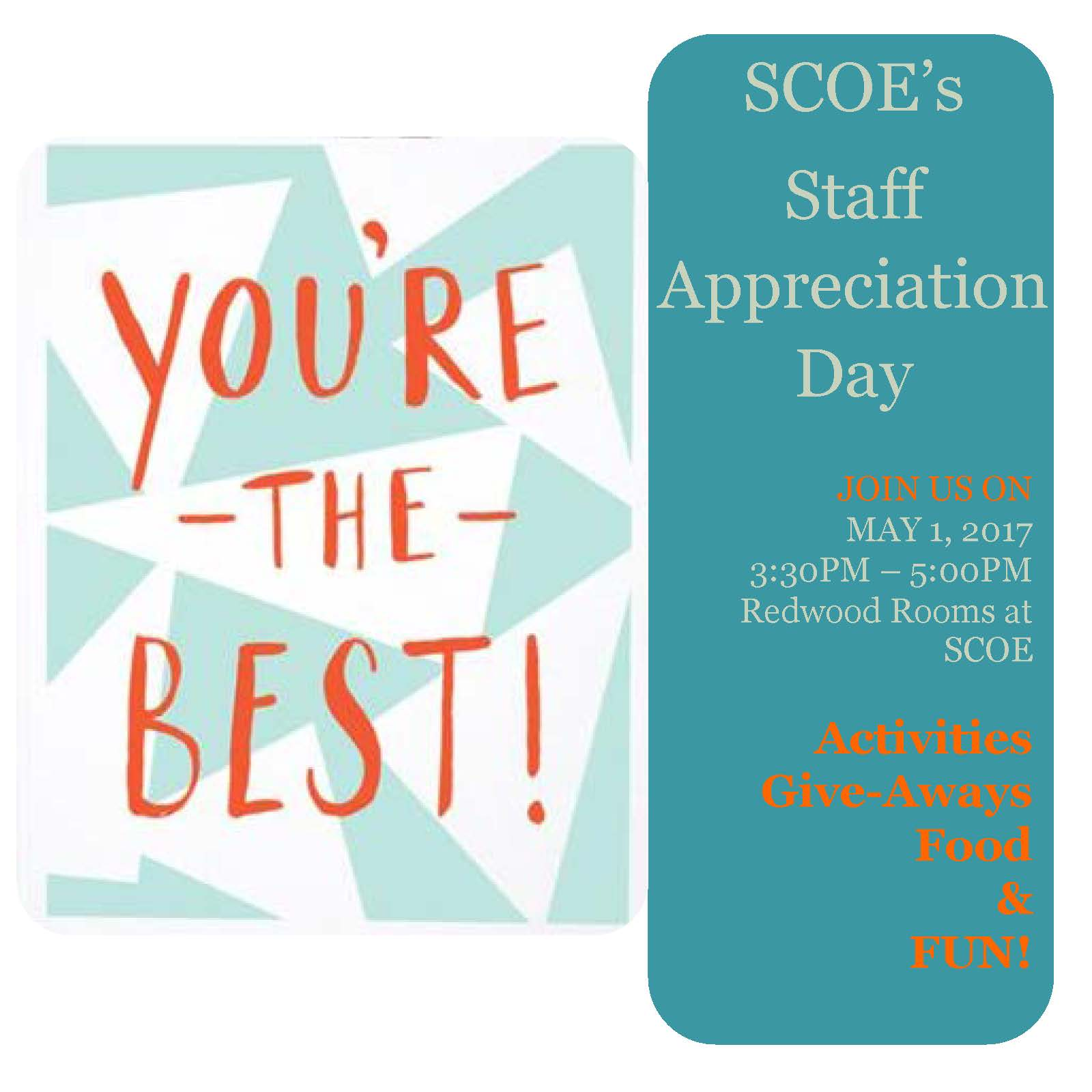 Staff Appreciation Day is May 1