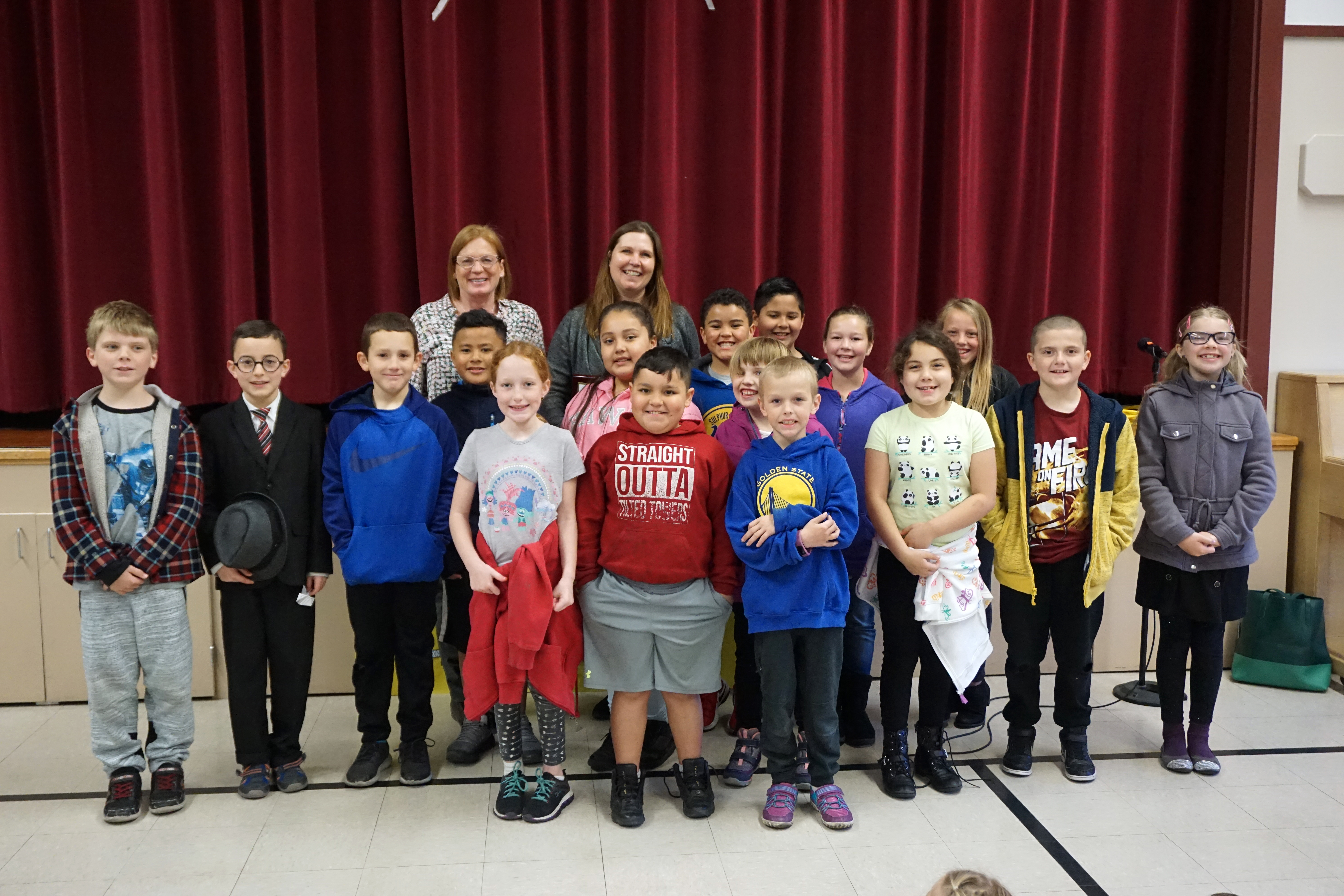 Jennie Harriman and her class
