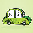 Illustration of a Small Green Car