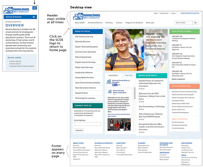 Desktop and Phone Views of SCOE Website
