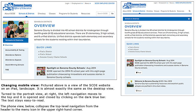 Tablet Views of SCOE Website