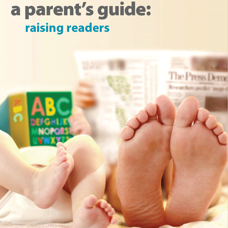 Cover of reading guide shows parent and child reading together