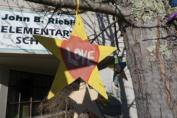 A star hanging from a tree outside Riebli Elementary says