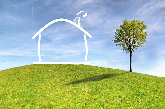 House drawing on top of grassy hill